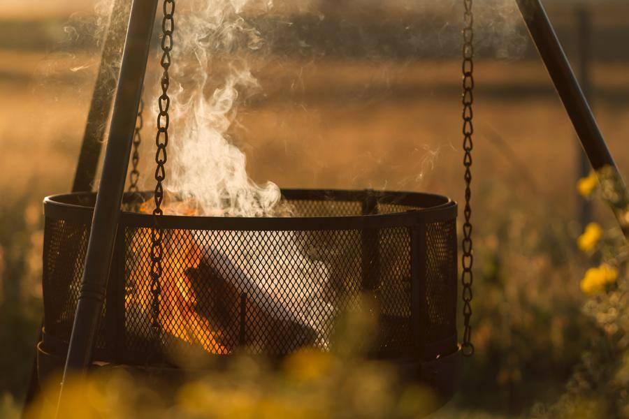 火盆 夕阳 火 烟 坑