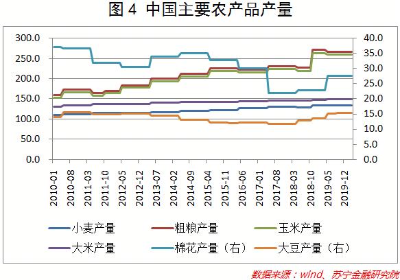 中国重要农产品产量