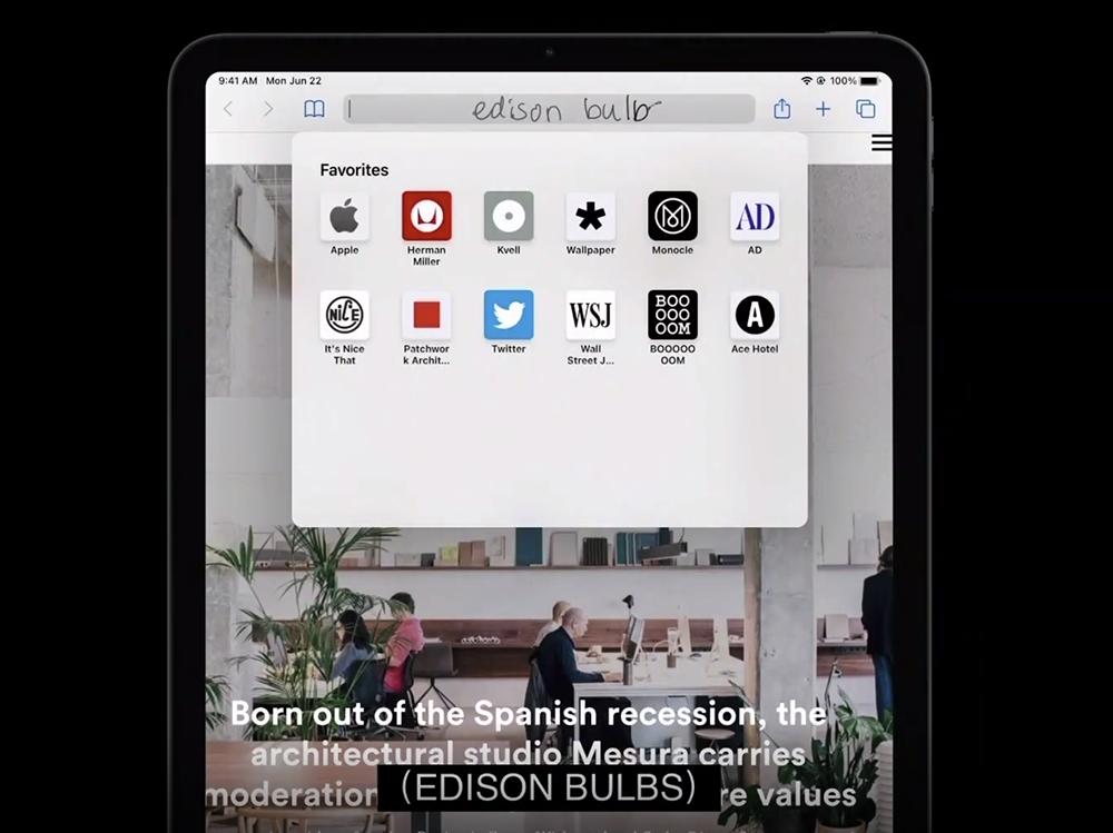 亿欧:iPadOS 14与Apple Pencil的文本调用/WWDC20