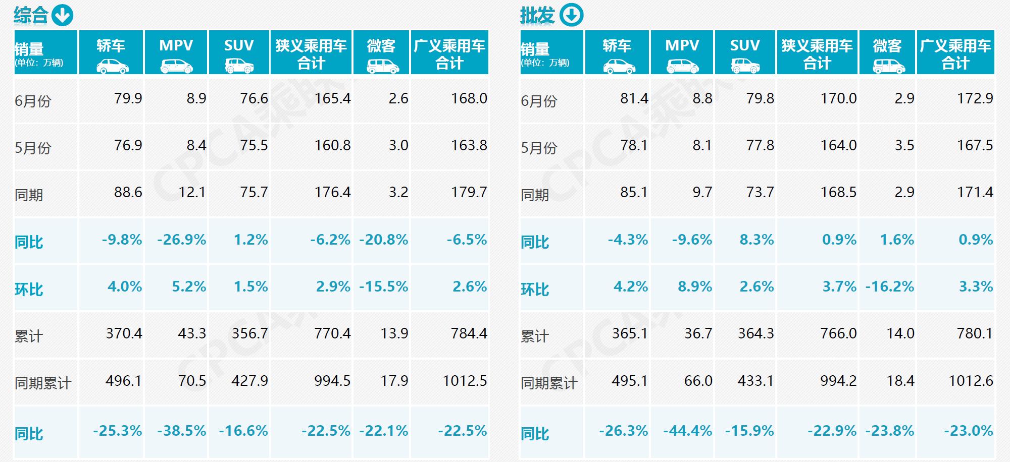 6月综合、批发销量分析表