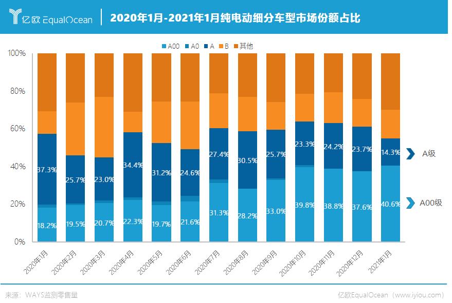 2021年1月-2021年1月纯电动细分车型市场份额占比