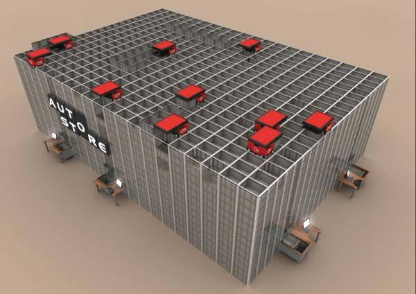 安置在顶部的抓取机器人及无需货架间巷道的立体仓库