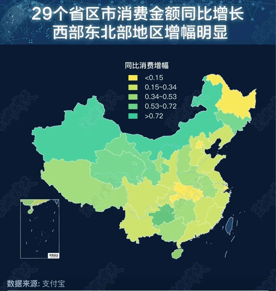 29省区市消费金额同比增长